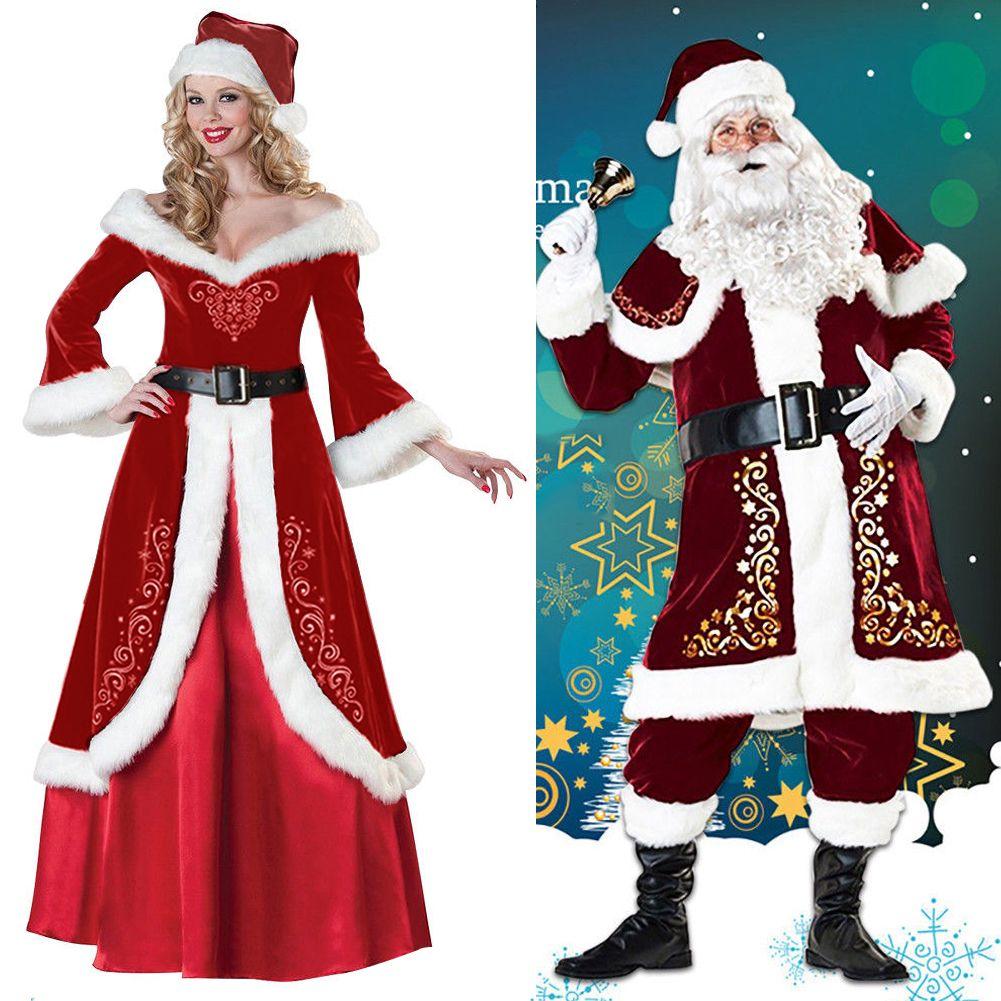 2c313c4ba8e75 Santa Claus Suit Adult Deluxe Velvet Christmas Costume Fancy Dress ...