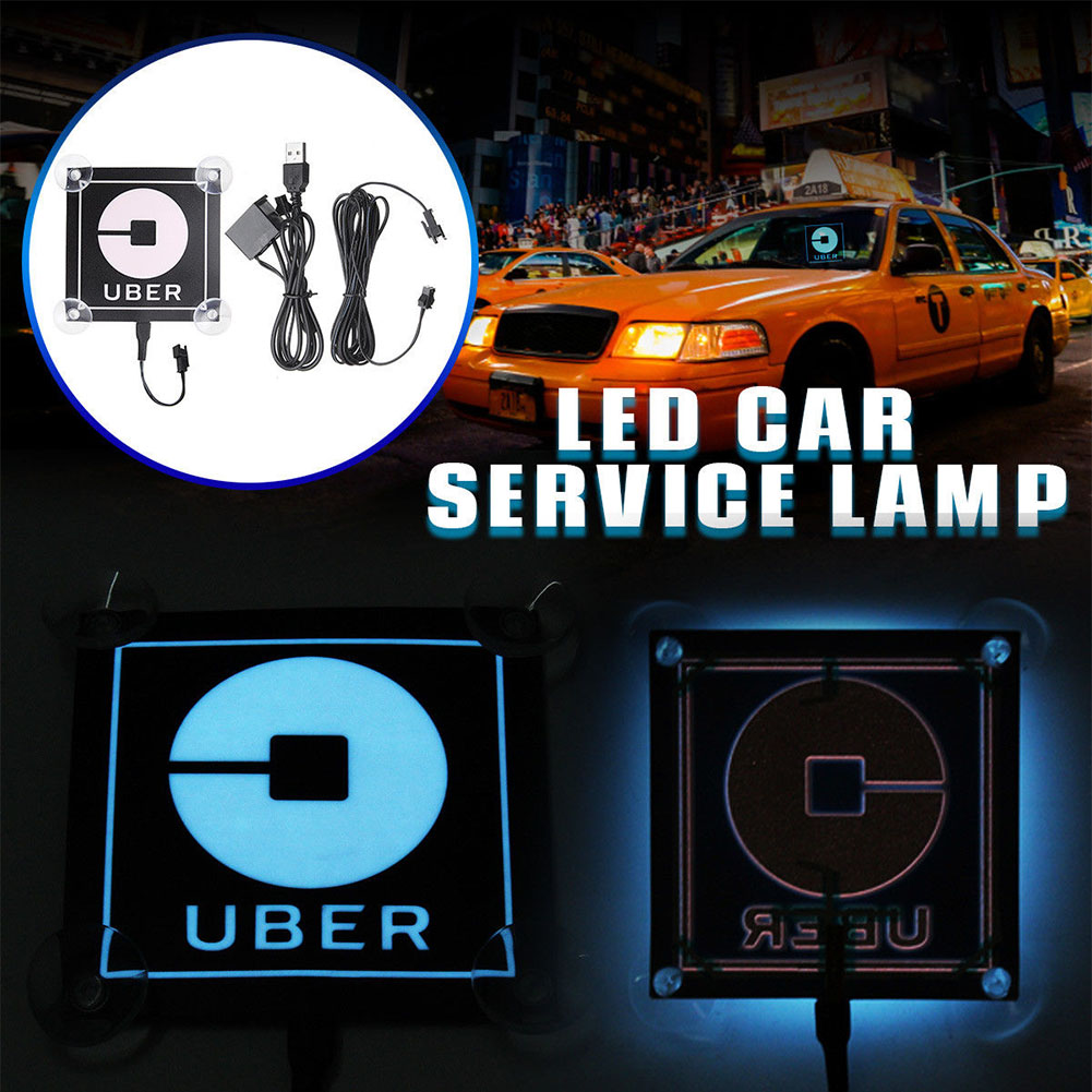 Details about for uber lyft led taxi car light sticker logo lamp decal indicator sign glowing