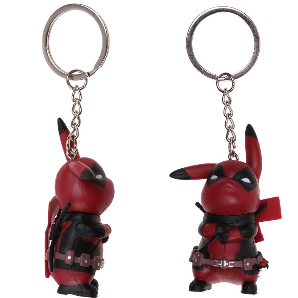 Marvel Pikachu Cos Deadpool Collectible Figurine Action Figure Key Chain Keyring