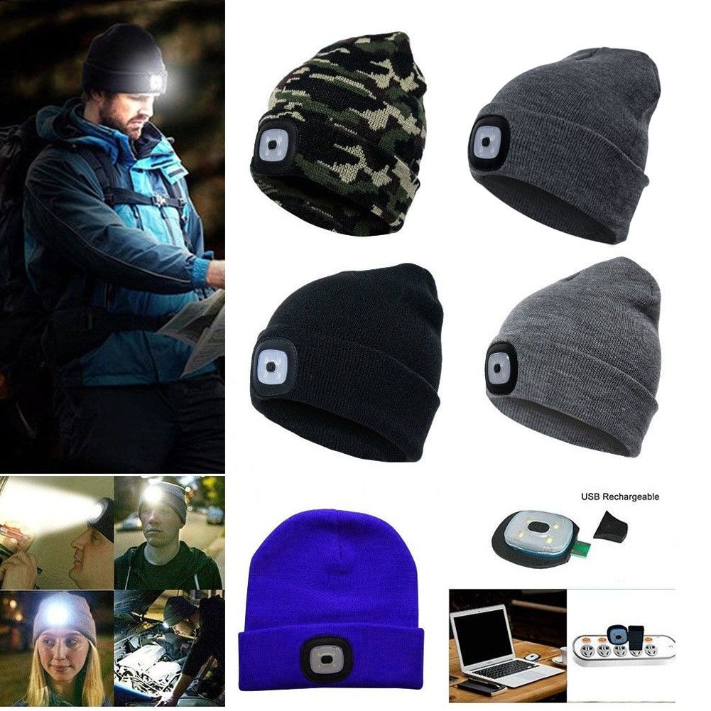 Details about Beanie LED Lighted Cap Warm Wool Hat Winter Black Flashlight  Style Camping Night 91e670cedbe