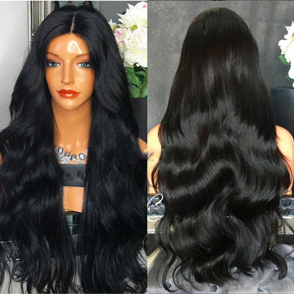 Details about Womens Anogol Jet Black Lace Front Wig Synthetic Hair Peluca  Long Wavy Wigs 608ecb7b0f