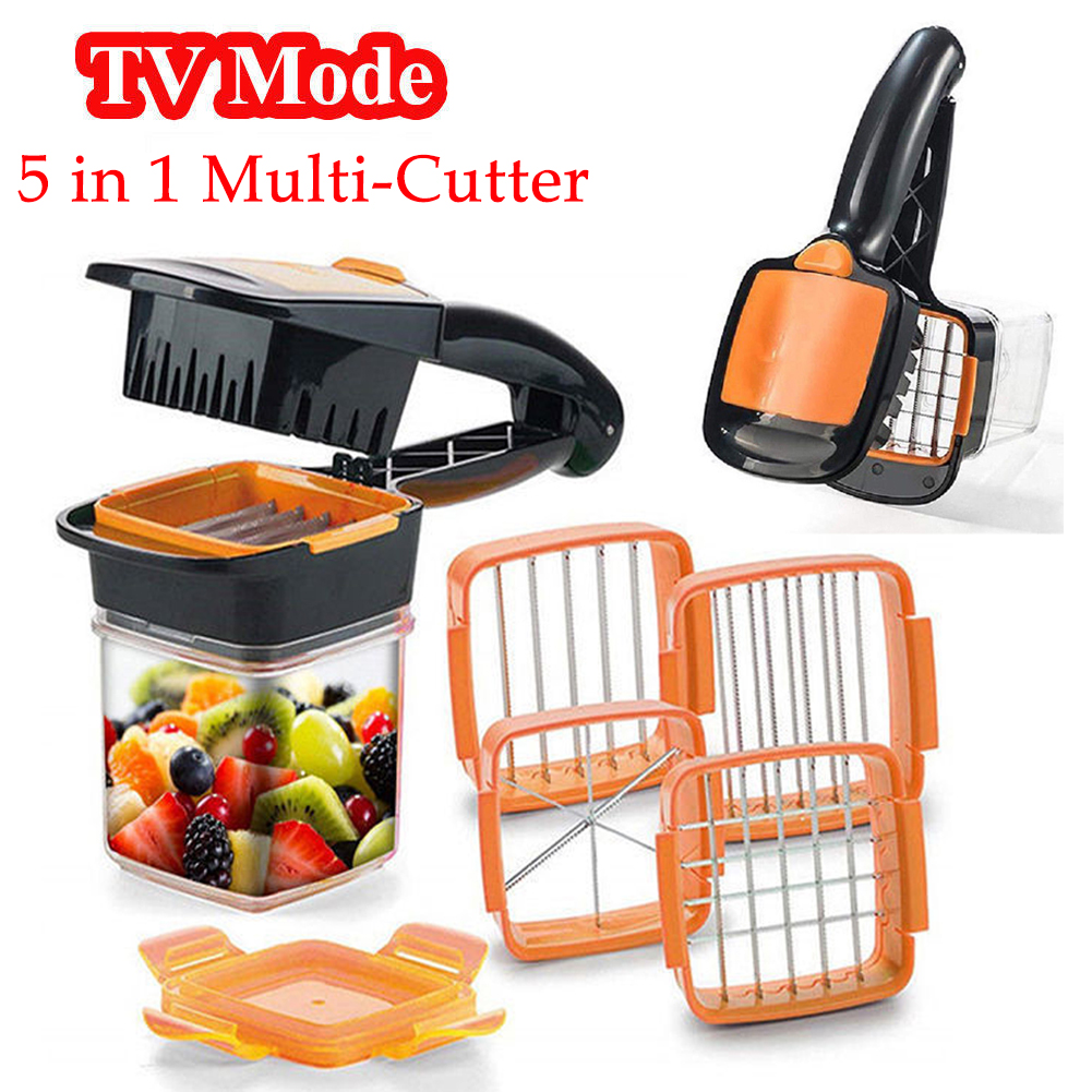 nicer quick 5 in 1 dicer fruit vegetable cutter set chopper stainless steel kit ebay. Black Bedroom Furniture Sets. Home Design Ideas