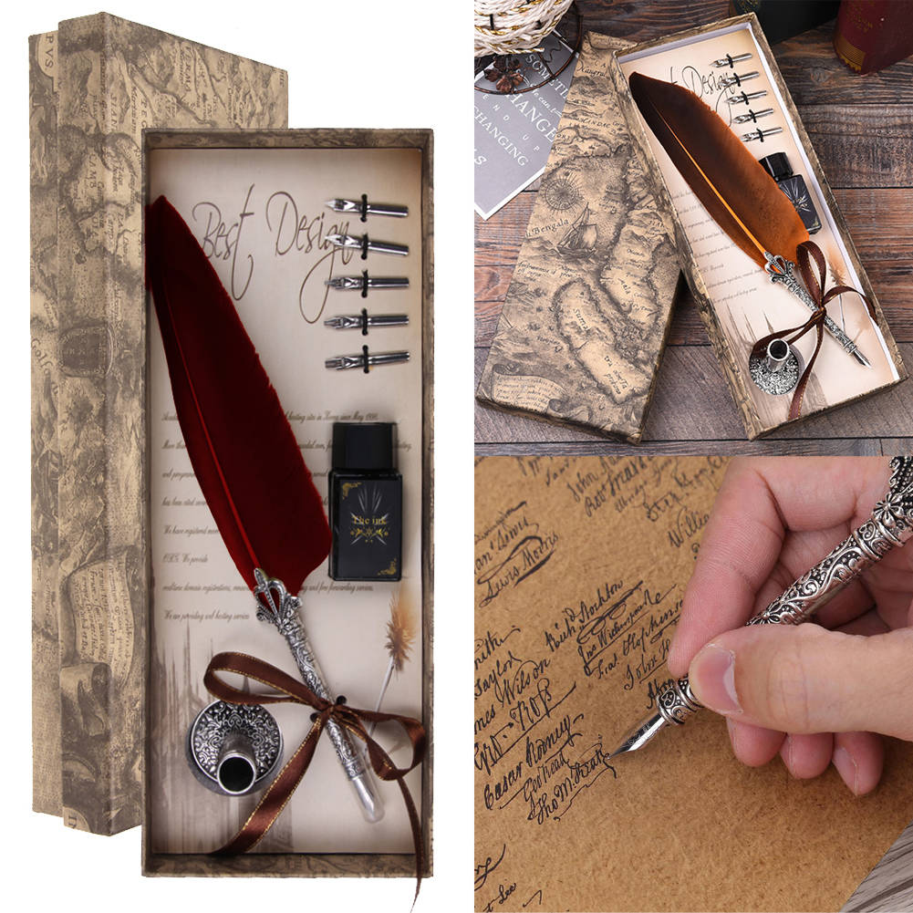 Retro Feather Dip Pen Writing Ink Set Quill Pen Fountain Pens Gift Box  #C