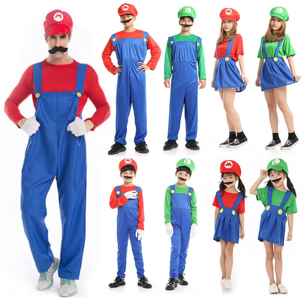 Men Adult Kids Super Mario Luigi Bros Cosplay Costume Halloween