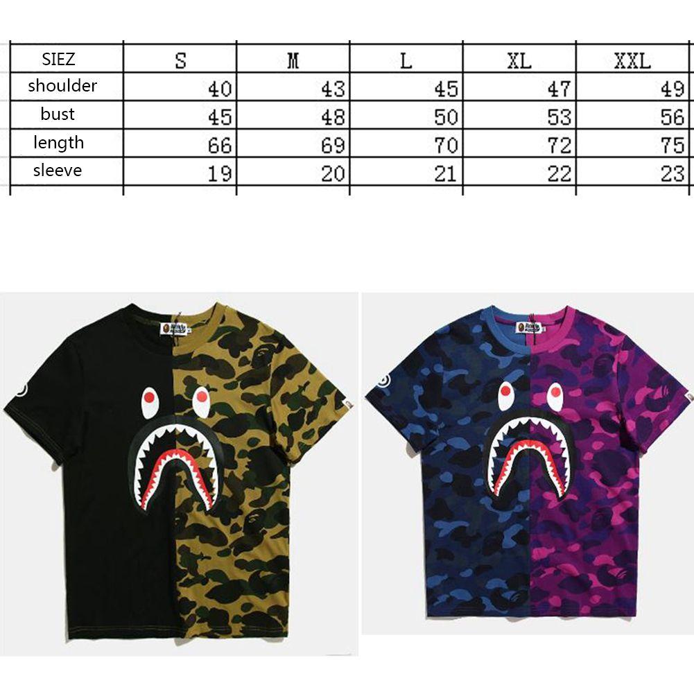 f72feec09 BAPE A BATHING APE Camo T-shirt Crew Neck Shark Head T Shirt Tops ...