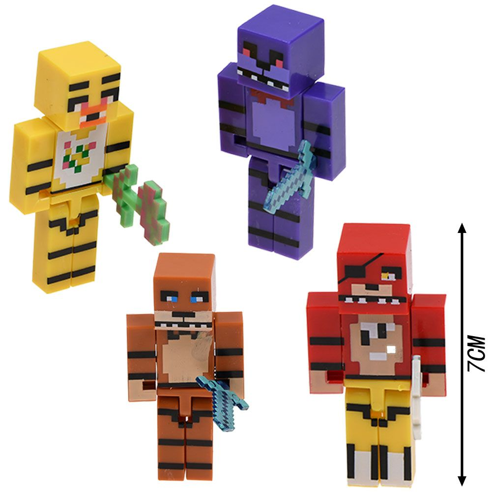 4PCS Five Nights at Freddy/'s Chica Bonnie Bear//Foxy Minifigures Toy Blocks