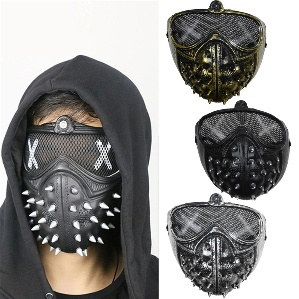 limitierte Anzahl angenehmes Gefühl kommt an Details about Watch Dogs 2 Wrench Mask Half Masks Halloween Light Rivet  Face Props Cosplay