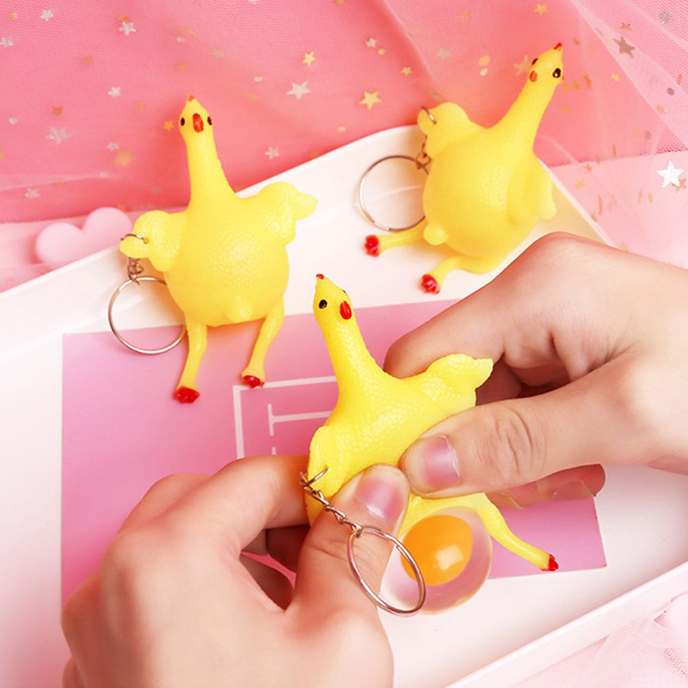 Vent Chicken Egg Laying Hens Crowded Stress Ball Key chain Kids Squeeze Baby Key