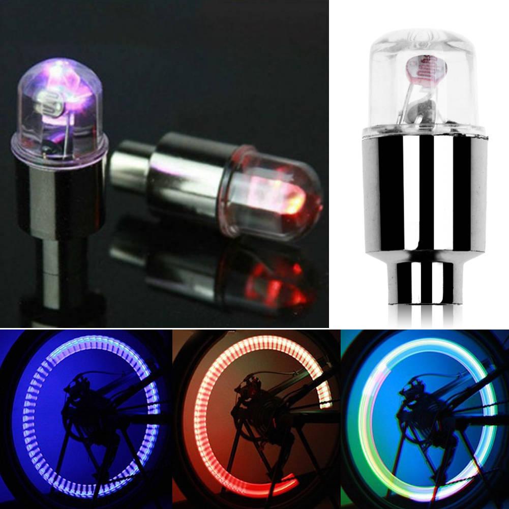 2 Neon LED Flash Light Lamp Car Motor Bicycle Wheel Tire Tyre Valve Cap Spoke US