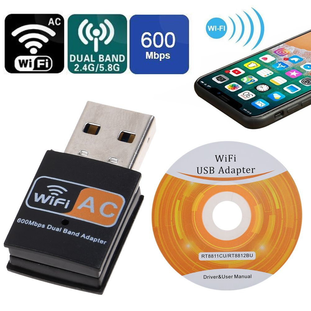 Adapter 600 Mbps USB Dual Band Wireless 2.4-5ghz WiFi Dongle 802.11 AC Laptop PC