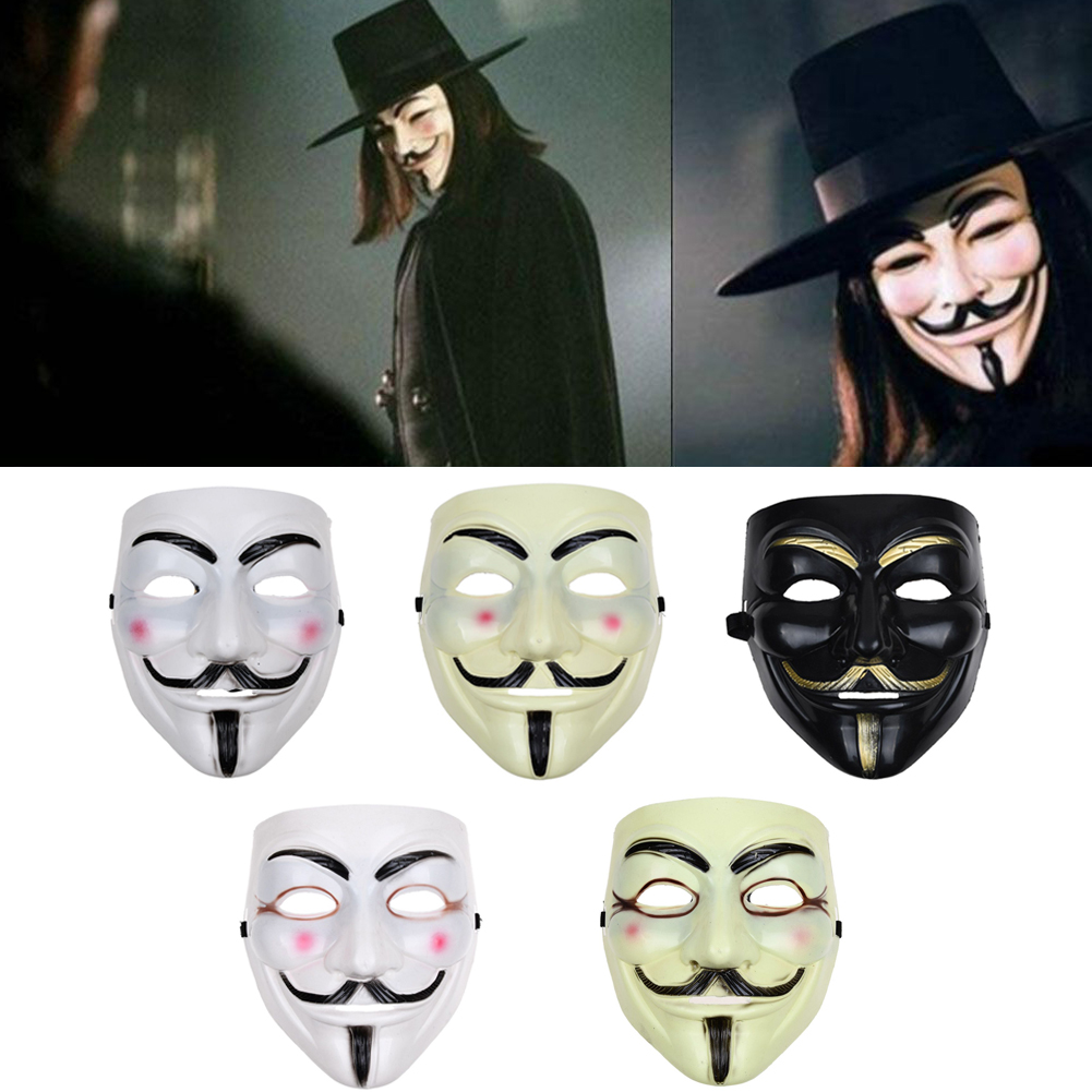 V for VENDETTA Halloween anonymous MASK Prop Costume GUY Fawkes 2pcs