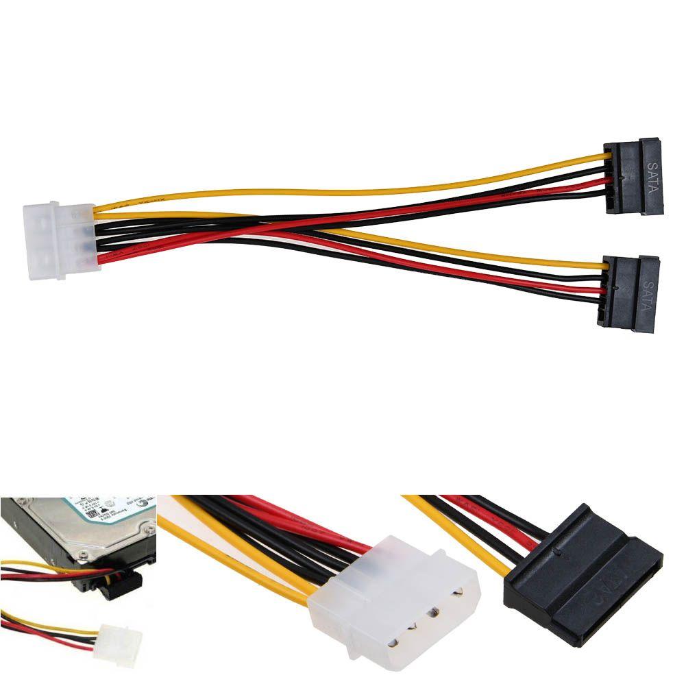 5X IDE Molex 4 PIN To 2X Y Spliter Convert 15 Pin SATA Power Adapter cable cord
