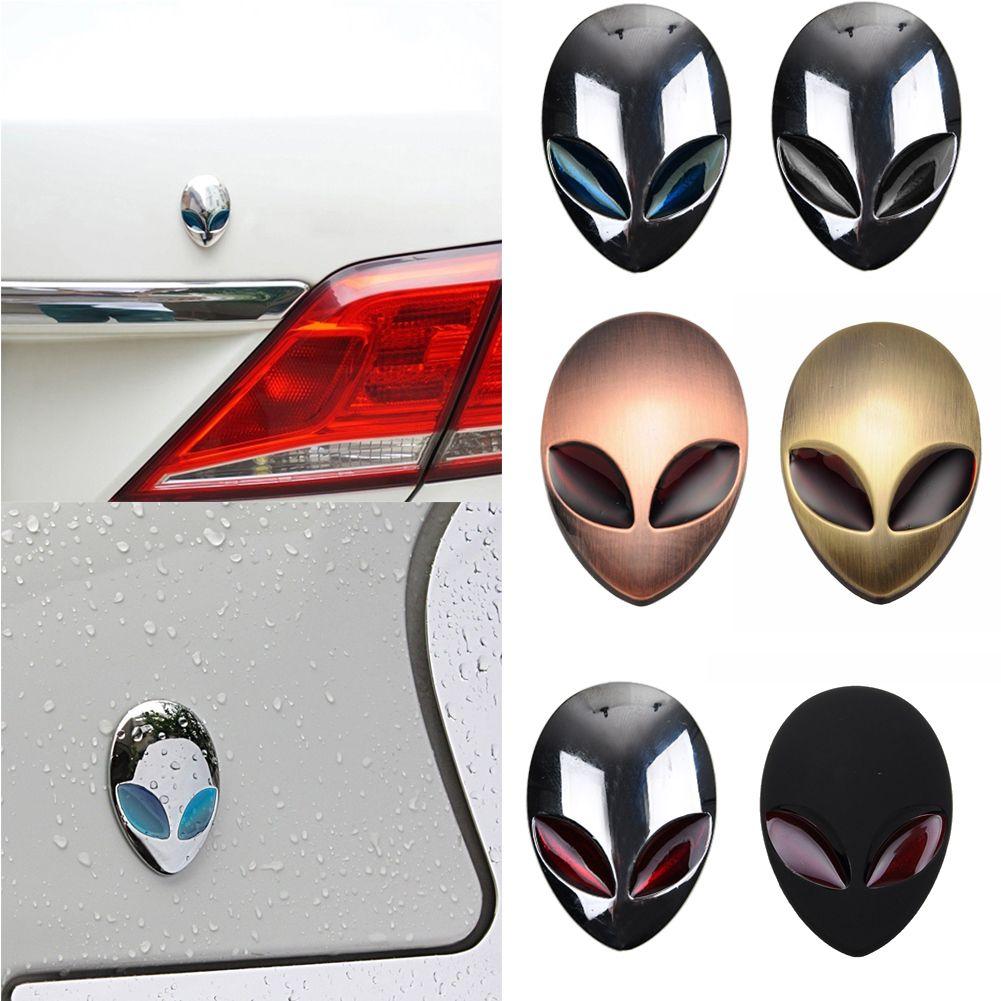 1 Piece Alien Head Auto Sticker Badge Emblem Car Decals Full Metal 3D Silver