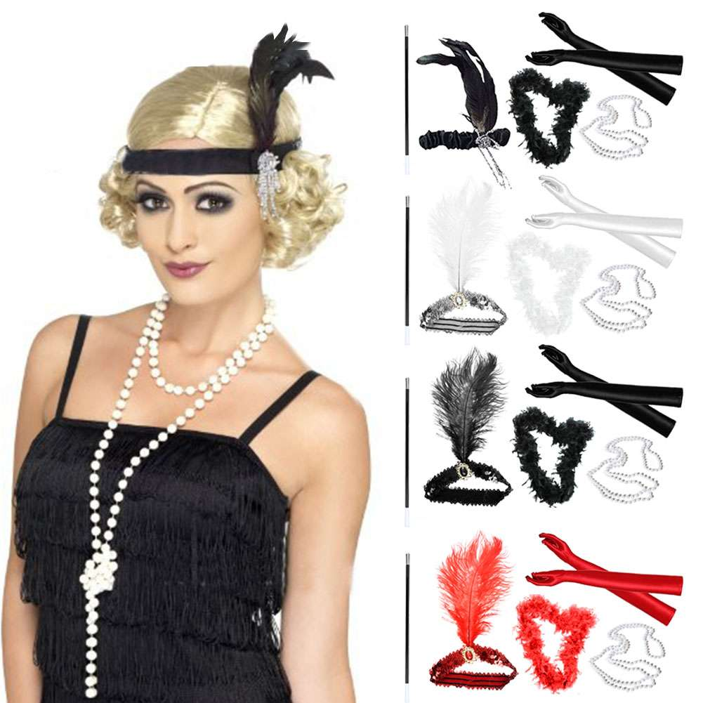 1920s Great Gatsby Accessories Set for Women,Costume Flapper Headpiece Headband