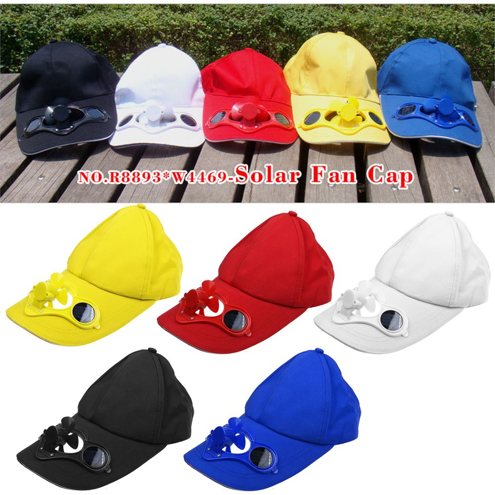 Outdoor Novelty Sports Hats Sun Solar Power Hat Cap with Cooling Fan Summer USA