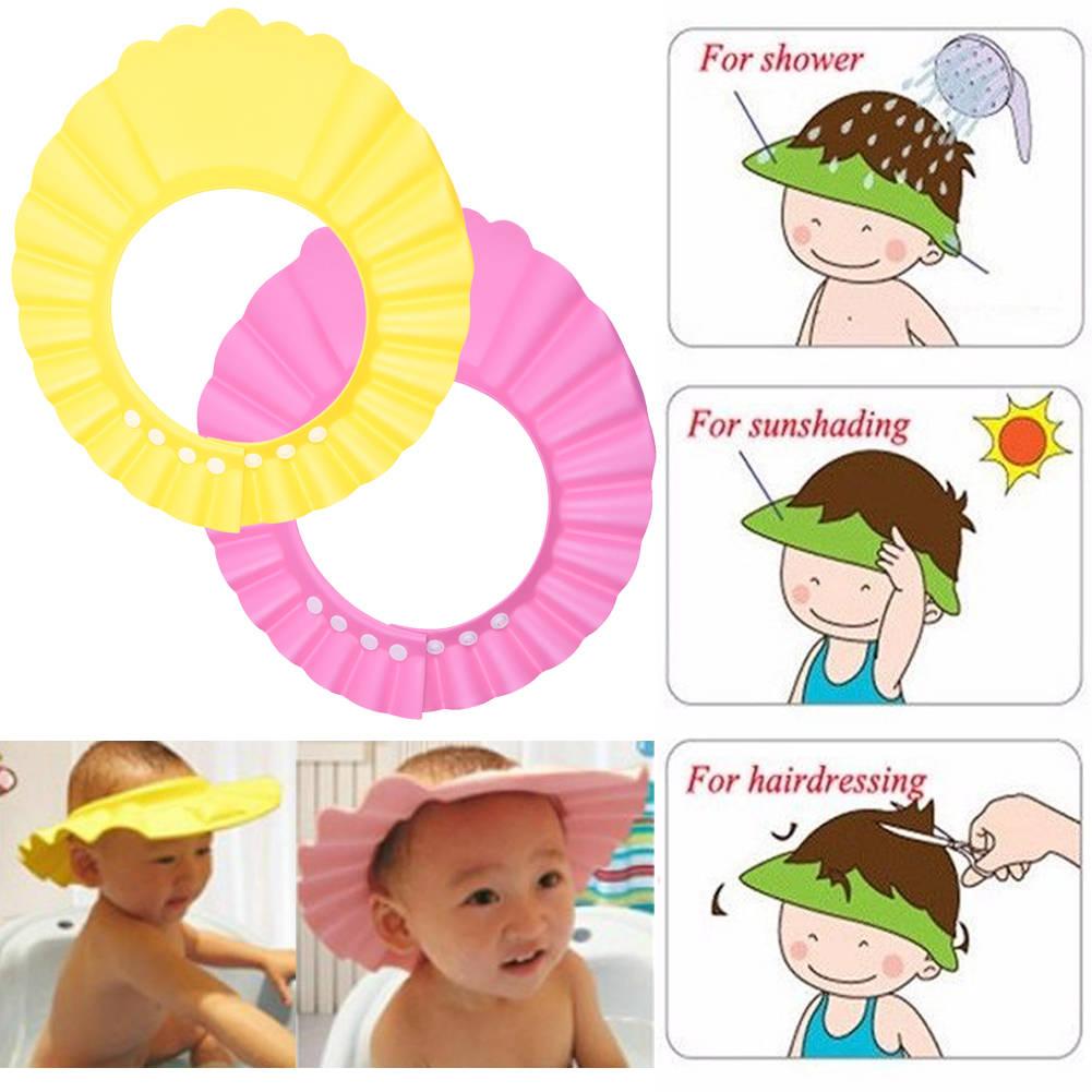 Doux b/éb/é enfants enfants enfants shampooing bain douche Bonnet chapeau laver cheveux bouclier