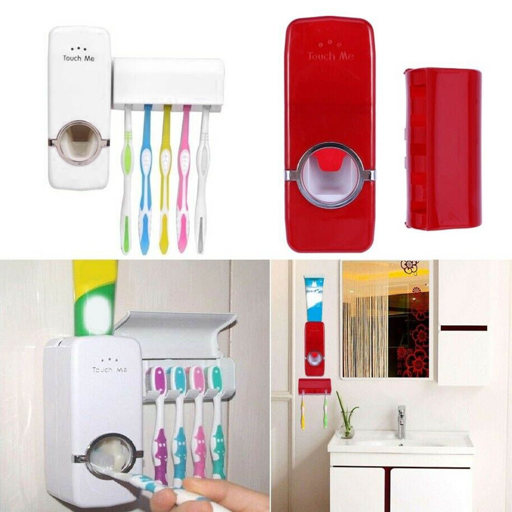 5 Toothbrush Holder Set Wall Mount Stand JM Automatic Toothpaste Dispenser