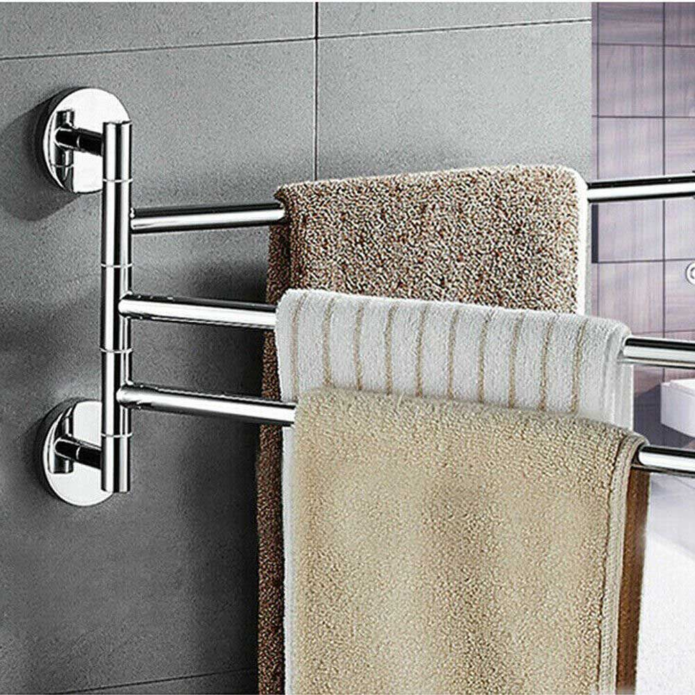 Details about Stainless Steel Towel Bar Rotating Towel Rack Bathroom  Kitchen Towel Storage US
