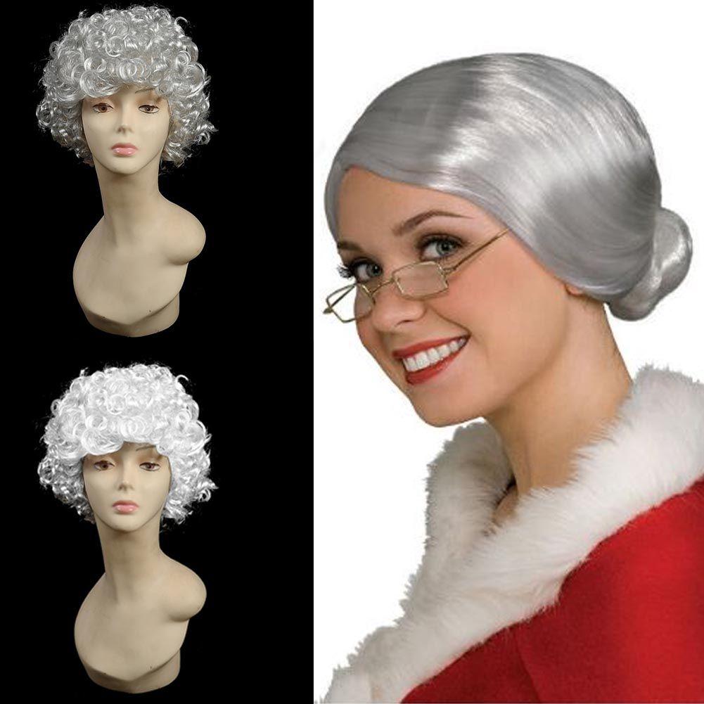 Womens Adult Mrs Santa Claus Grey Old Lady Granny Grandma Costume  Curly Wig