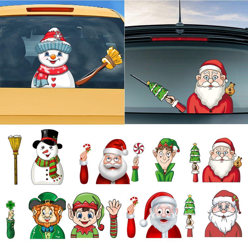 Christmas Santa Claus//Snowman Waving Arm Wiper Decals Car Sticker Styling Decor