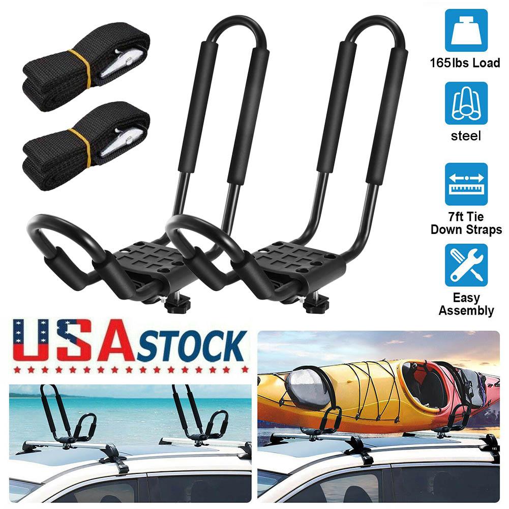 2 Pairs Car Roof Mount Kayak Racks Carrier Boat Ski Surf board Cross J-Bar Rack