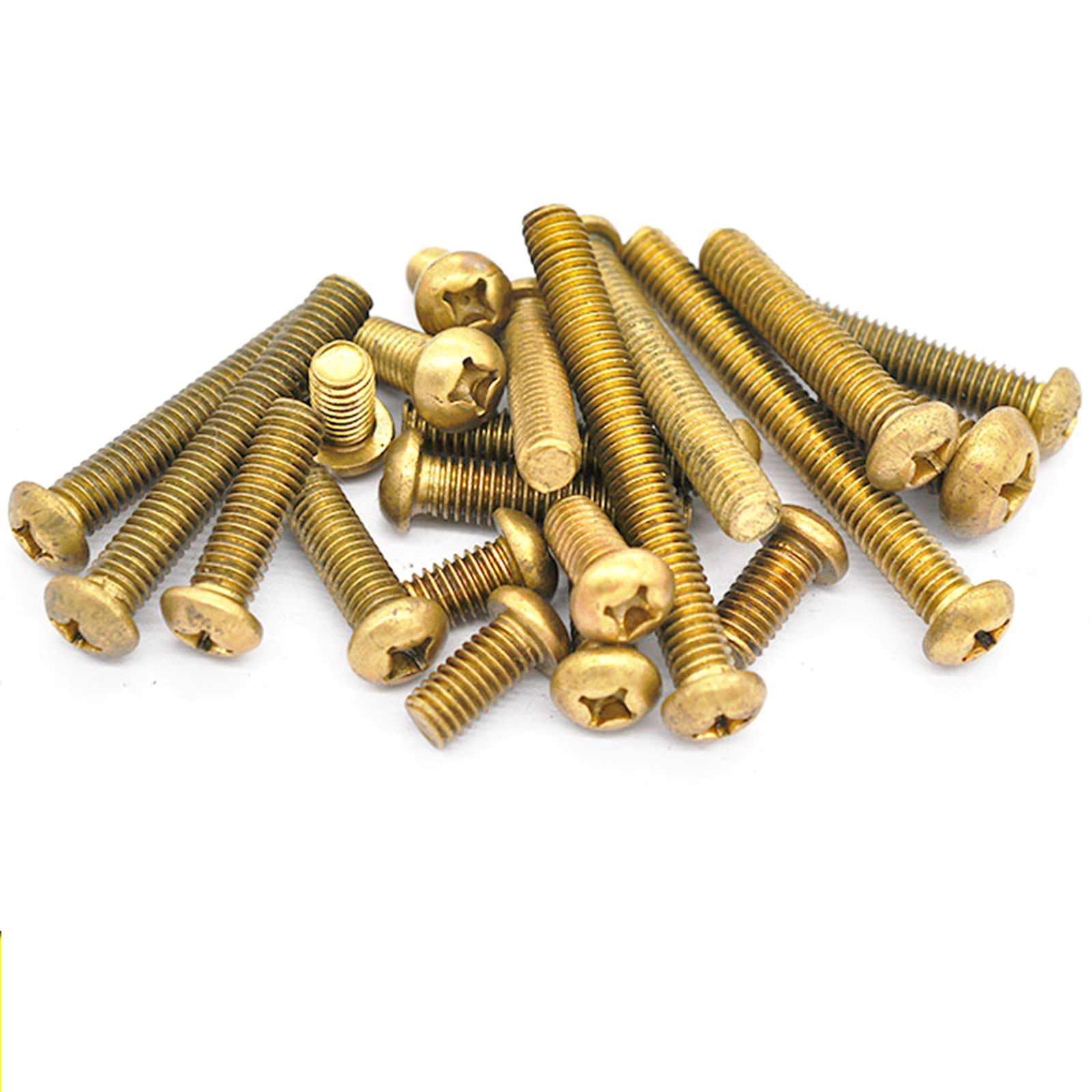 100pcs Metric Thread M4x10mm Brass Cross Recessed Phillips Pan Head Screw Bolt