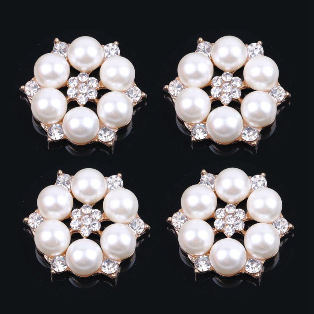 10x Vintage Crystal Pearl Buttons Embellishments for Wedding Jewelry Making