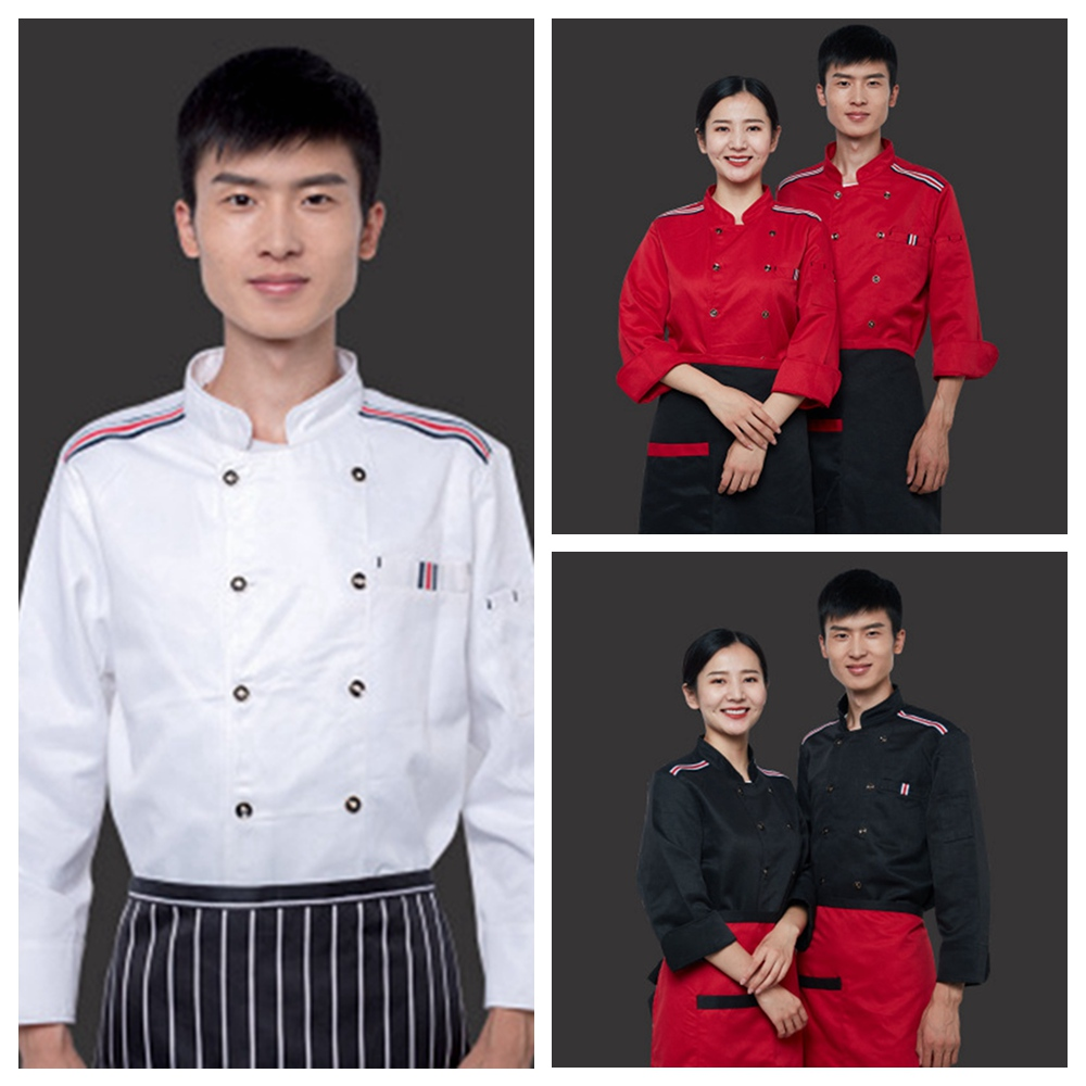 Details About Women Men Breathable Chef Jackets Coat Long Sleeves Shirt Kitchen Uniforms