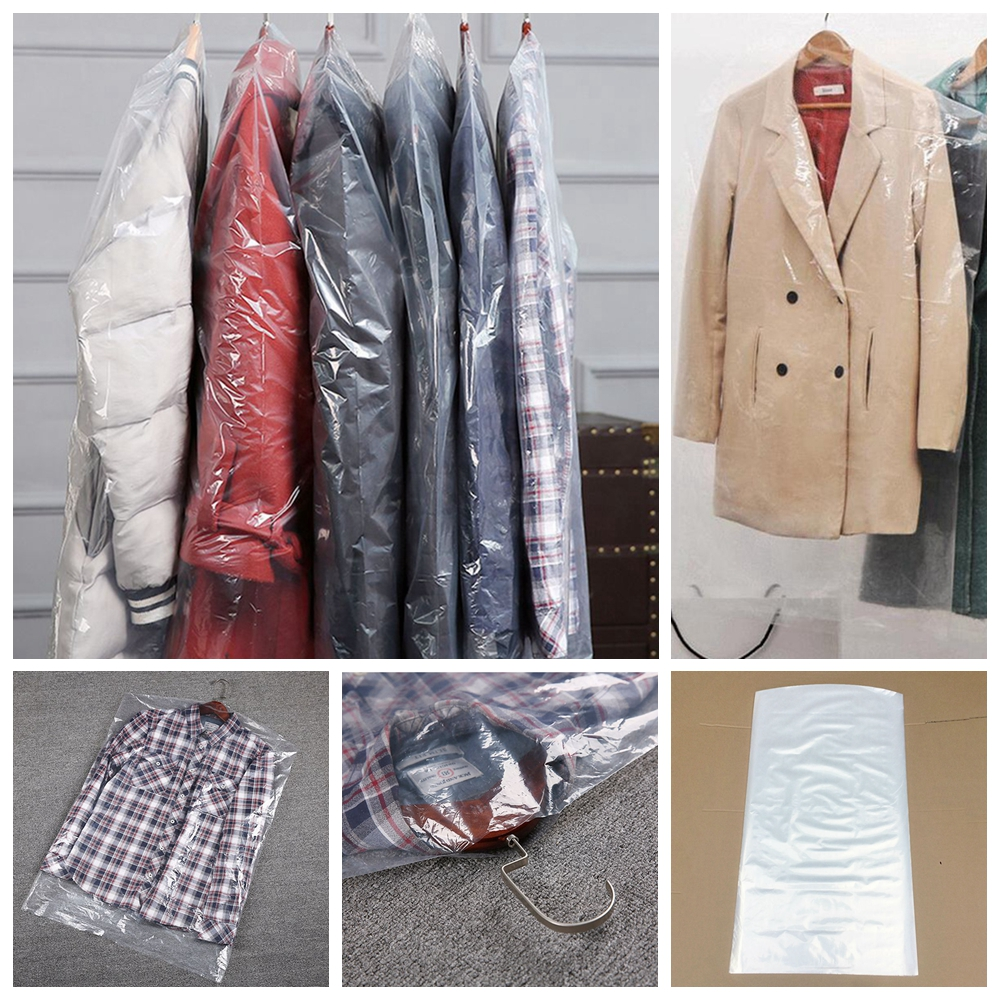 50//100pc Plastic Clear Polythene Garment Cover Dry Cleaner Dress Clothes Bag