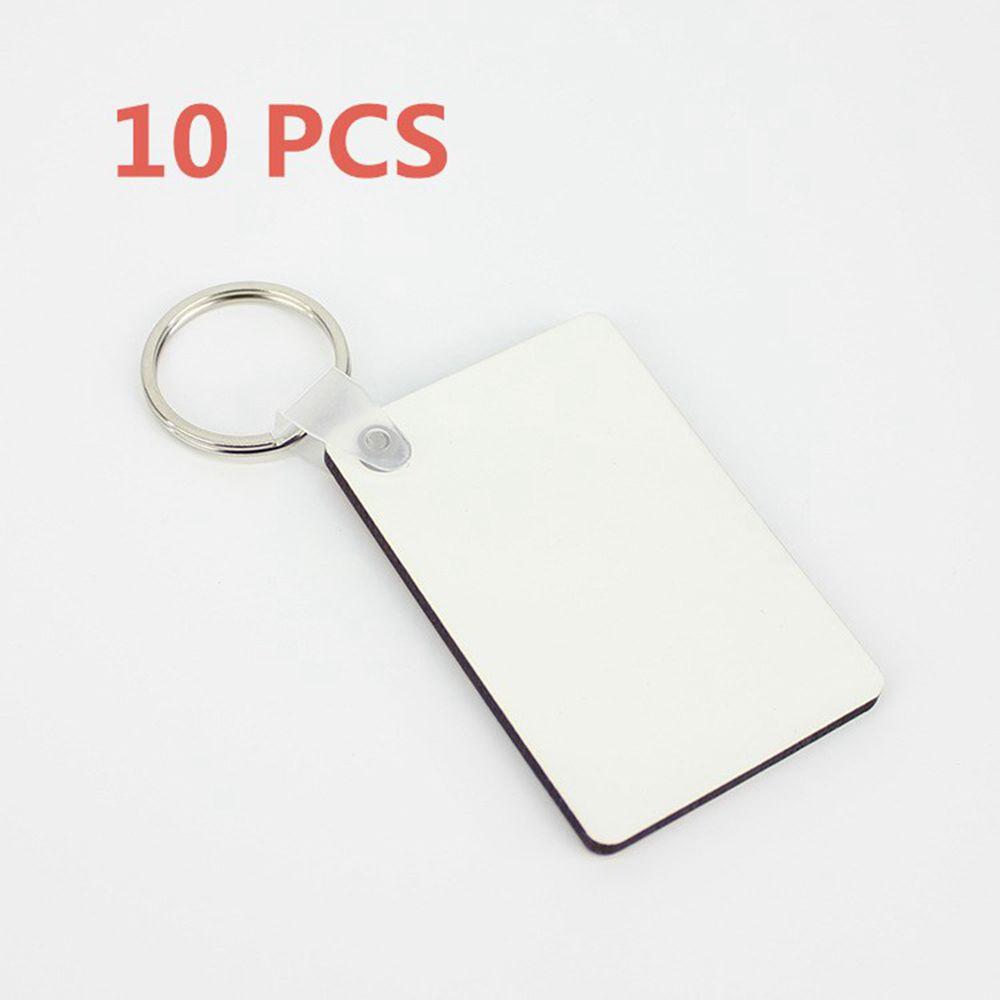 10Pcs DIY Sublimation Wooden Hard Board Printing Key Rings Blank MDF Key Chain