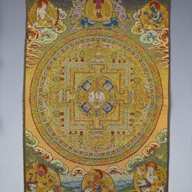 Tibet Tibetan Cloth Silk Mahakala Wrathful Deity Tangka Thangka Painting Mural#2