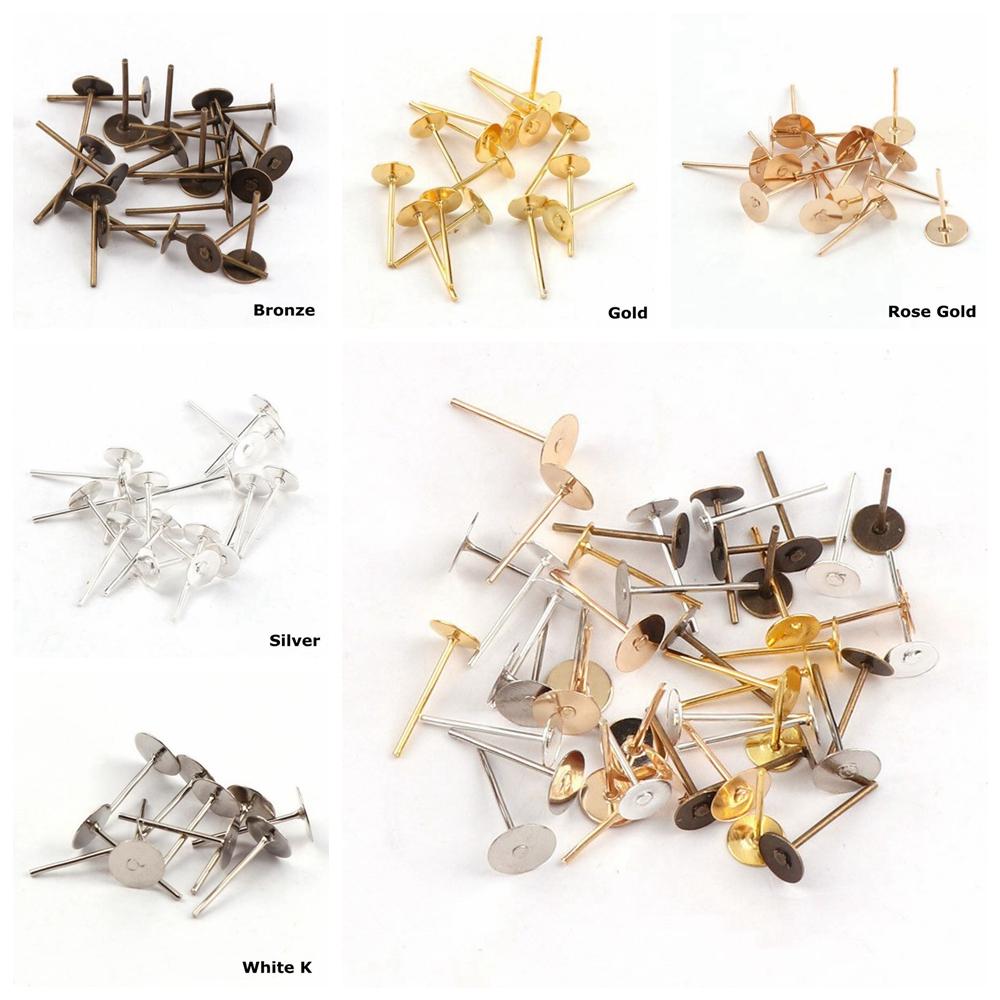 200Pcs Pack DIY Earring Pin Jewelry Making Supplies Blank Tray Piercing Ear Stud