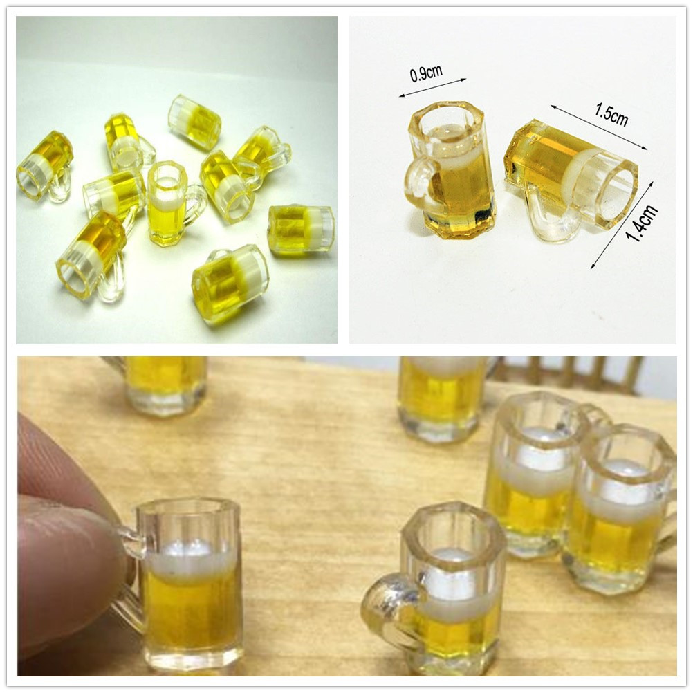 4 Pcs Dollhouse Miniature 1:12 Clearly Drink Resin Cups Table Dollhouses Decor