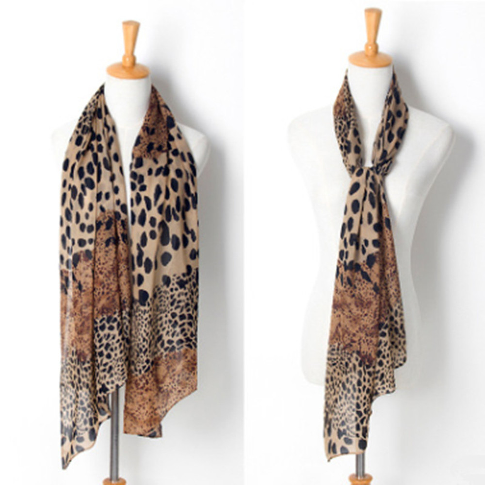 Fashion Womens Leopard Print Soft Long Wrap Shawl Scarf Stole Scarves Chiffon