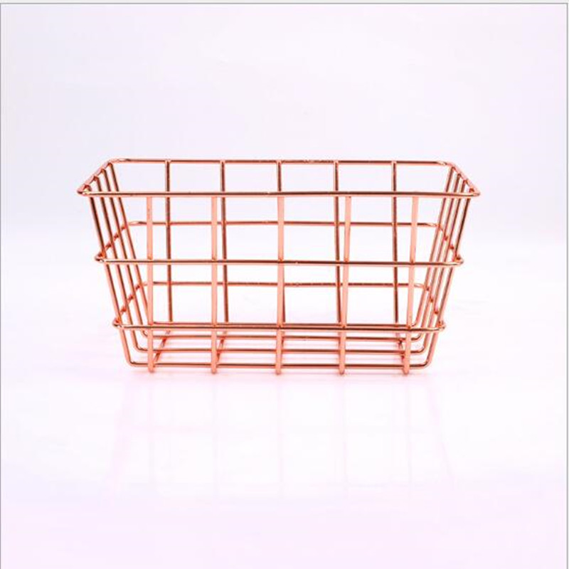 Modern Metal Iron Rose Gold Wire Mesh Storage Basket Kitchen Bedroom Bathroom