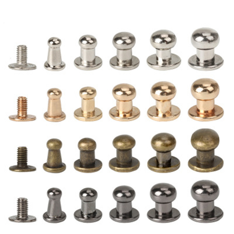 10 Pcs Brass Rivet Studs Screw with Round Ring Head Leathercraft Parts