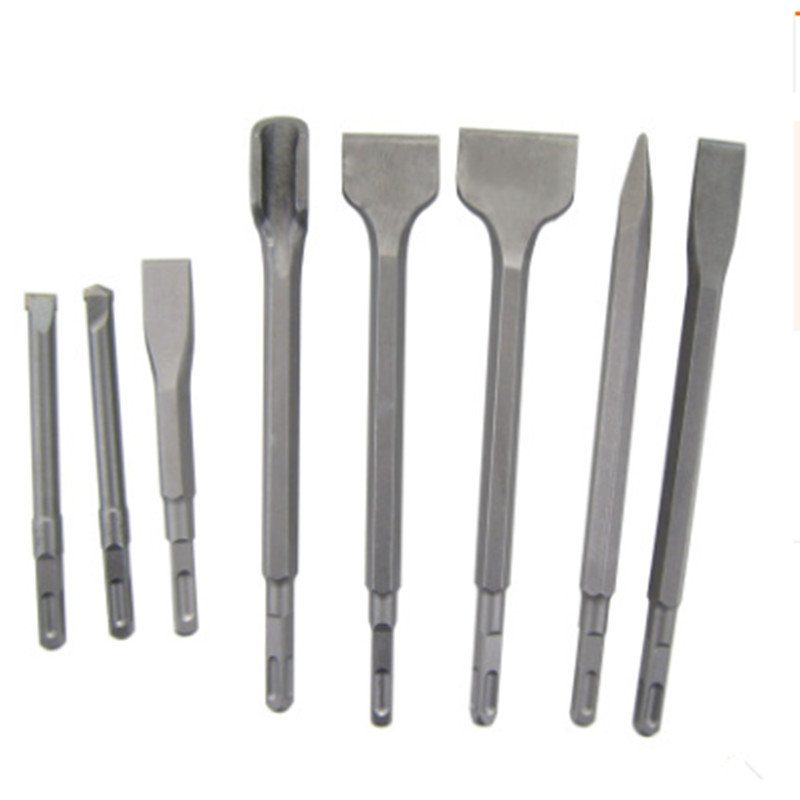Round//Hex Shank Chisel Bit Hammer Drill Spade Point Flat U Groove Concrete Stone