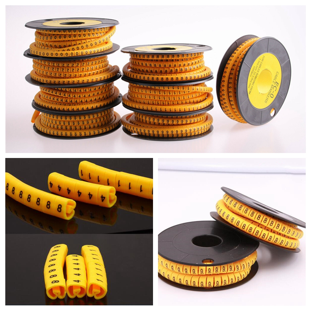 1000pcs Yellow Round Cable Tags Management Wire Marker Number No 0~9 6mm²
