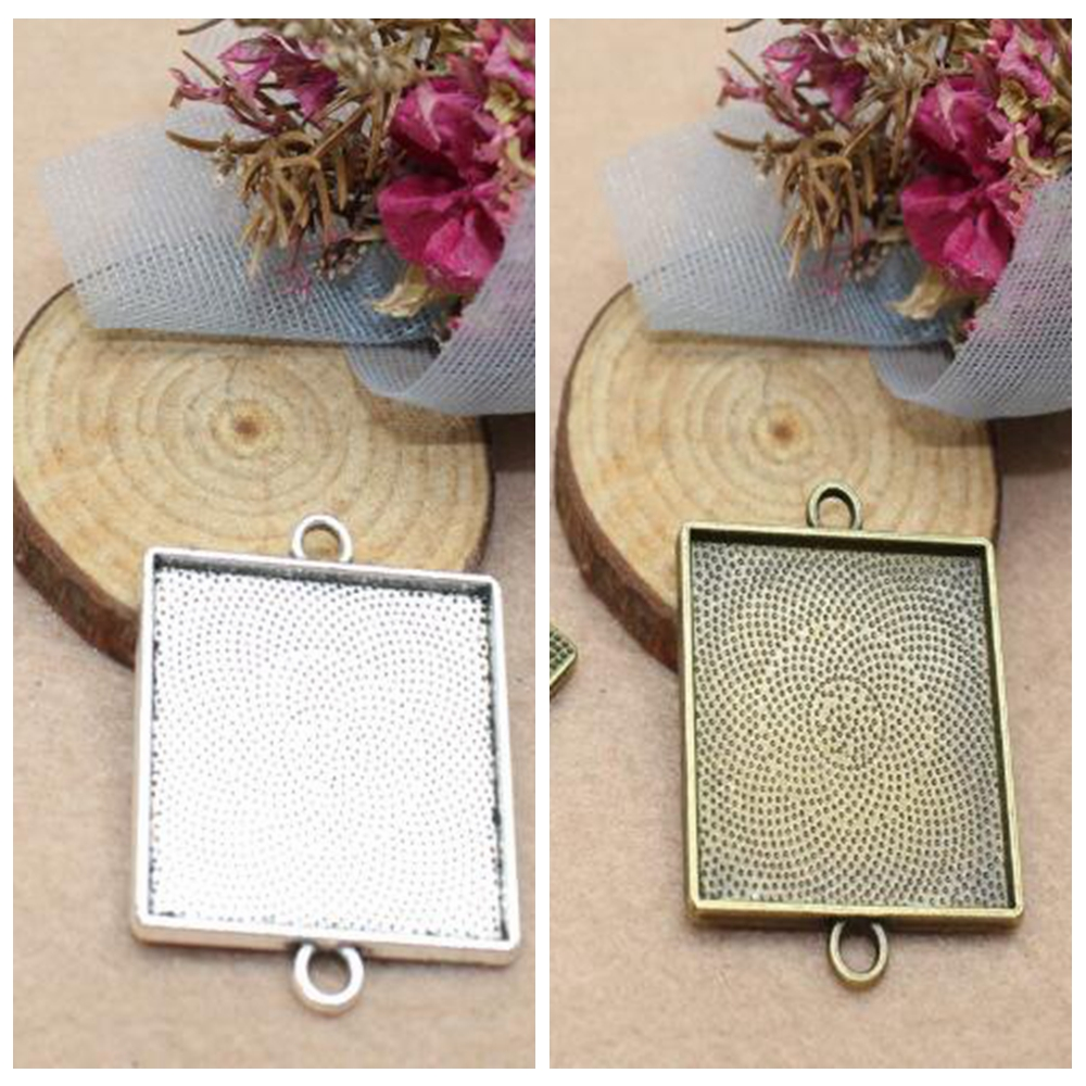 10pcs Square Antique Wooden Cameo Base Setting//Tray Fits Glass Cabochon DIY