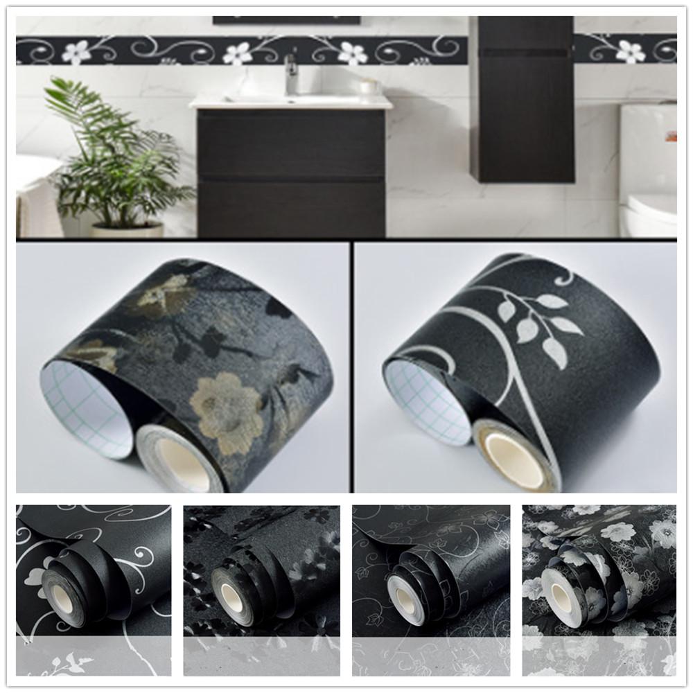 5M Self Adhesive Wallpaper Waterproof Wall Skirting Border Decor Floral Black
