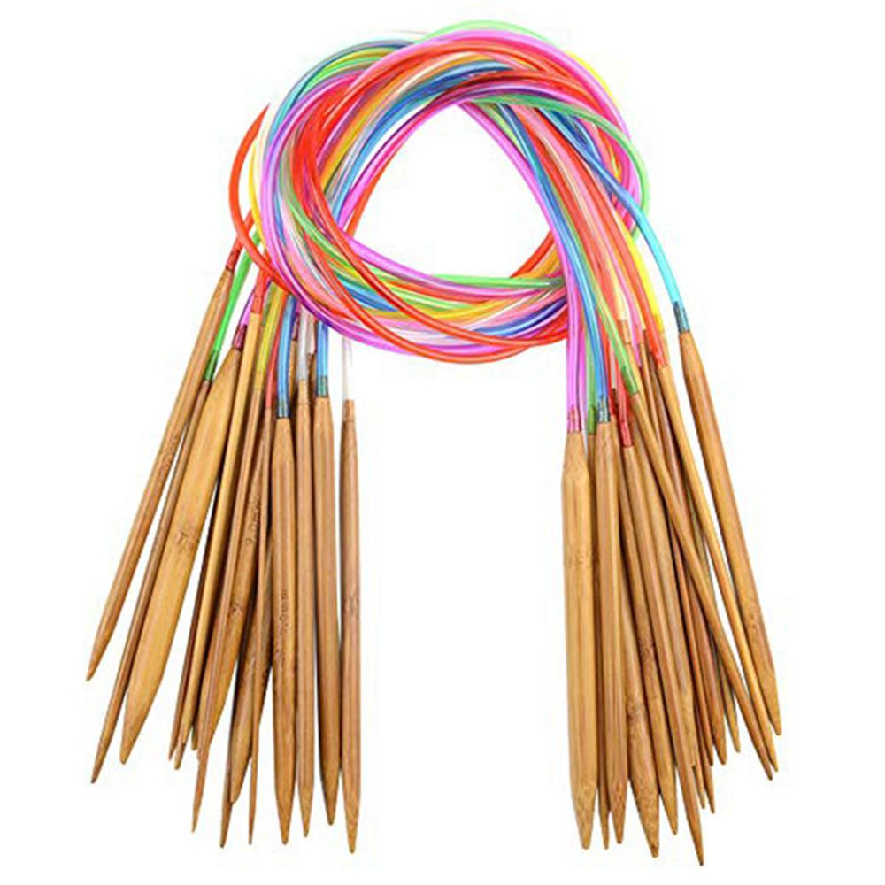 18 Sizes Circular Bamboo Knitting Needles Set with Colored Tube Y8D7