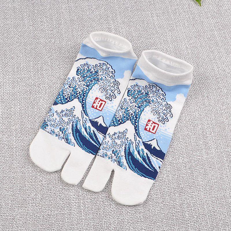 Split Toe Sandal Short Socks Geta Kimono Flip Flop Wave Sakura
