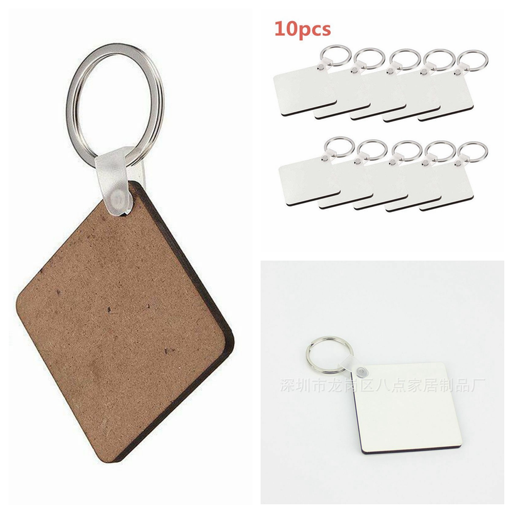 10 pcs DIY Sublimation Double-Sided Blank Key Chain Wooden Hard Board Key Rings White Blank MDF Key Chain Bone