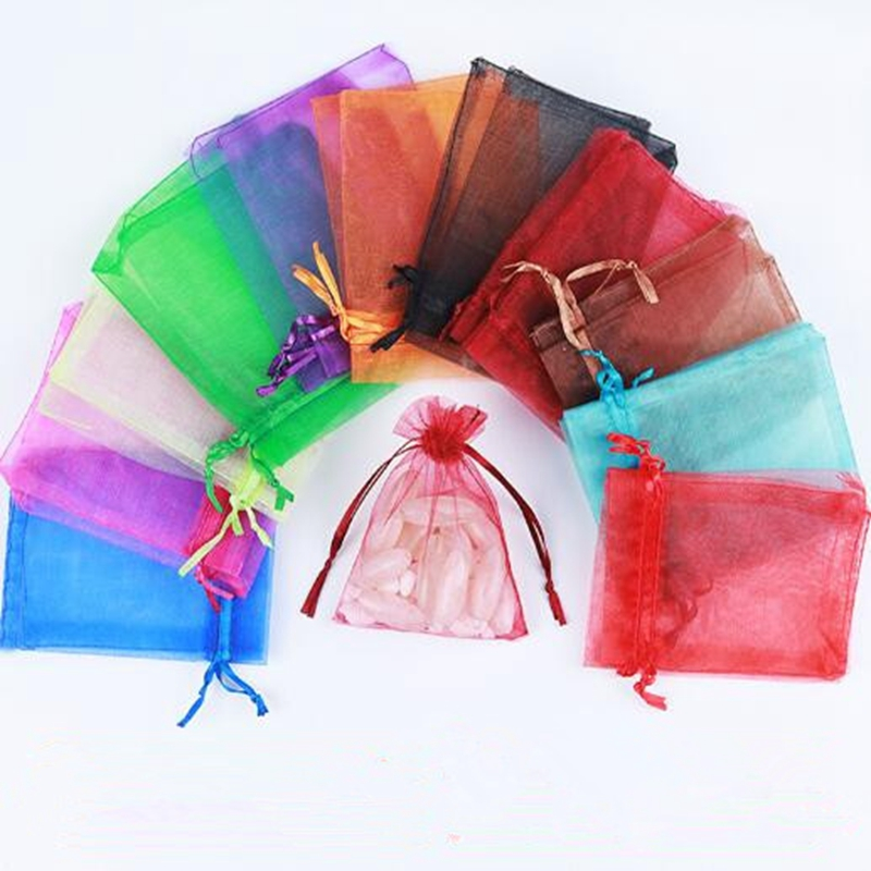 100pcs Organza Bags Weddin g Bags Service Gift Bags Fin ished Cord for Jewelry Jewelry Gift Packagin g Yellow Pouch.