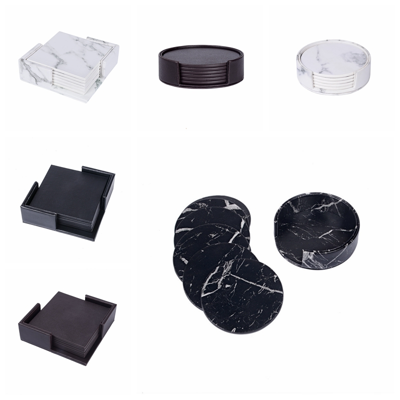 6Pcs Round Drink Coasters With Holder Base For Home Kitchen Bar Decoration