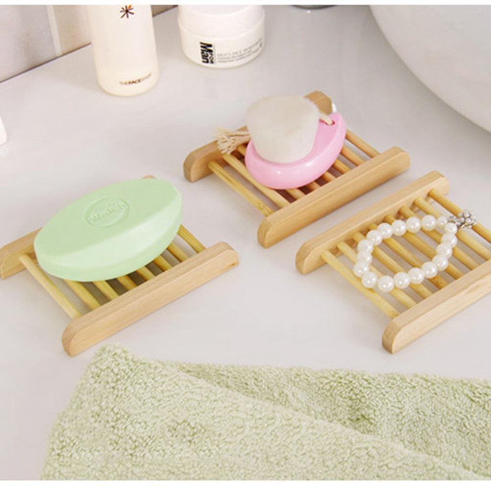 5x Natural Kitchen Retro Bamboo Wooden Soap Tray Bathroom Holder Dish Box Rack