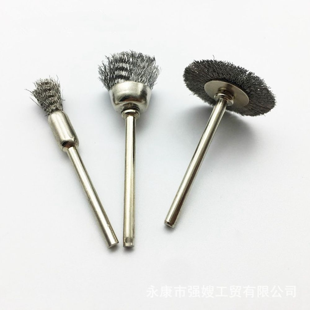 60Pcs Polishing Wire Pencil Cup Brush Shank Rotary Tool For 3mm Drill Rust Weld