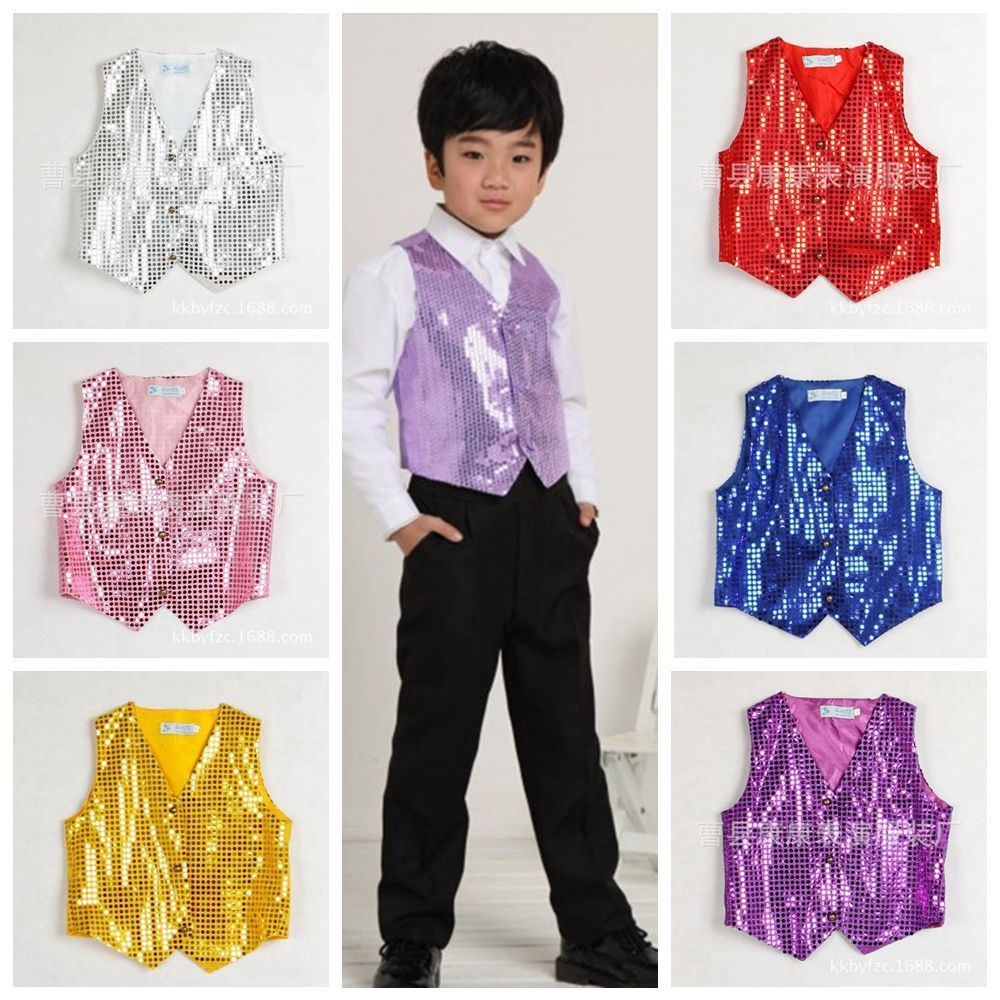 4f25cd1246c8 Boys Girls Sequined Vest Party Dance Show Costumes Waistcoat Modern ...