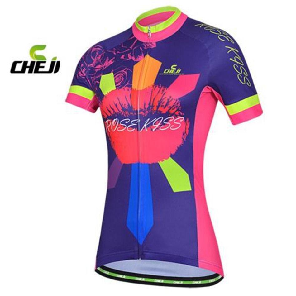 b0b1f3c48 Details about CHEJI Cycling Jersey Women s Mountain Bike Jersey Rose Kiss Cycling  Shirt XL XXL