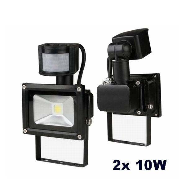 2x 10w led strahler mit bewegungsmelder fluter ip65 au enlicht warmwei kaltwei ebay. Black Bedroom Furniture Sets. Home Design Ideas